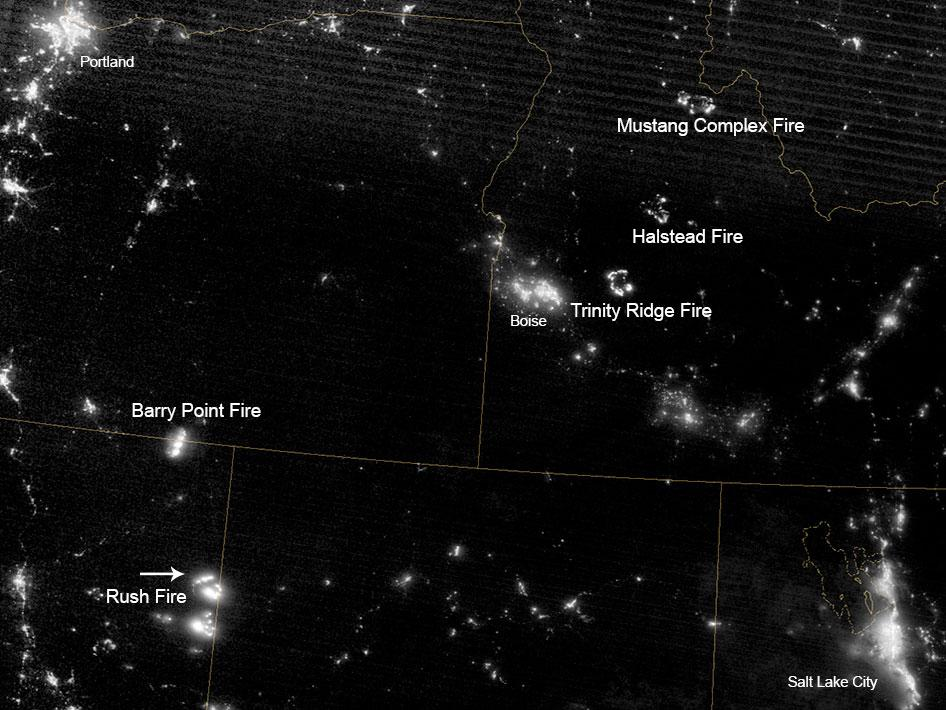 Western fires at night