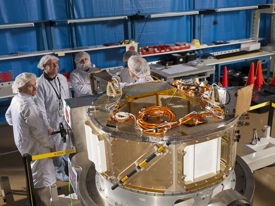 IRIS spacecraft bus in clean room.