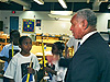 NASA Administrator Charlie Bolden talking with students