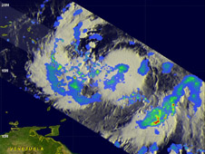 image of Isaac derived from satellite data