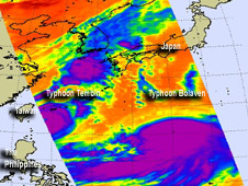 AIRS image of Bolaven and Tembin