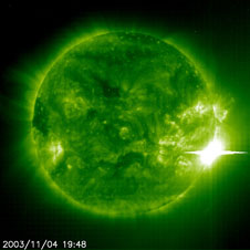 The Sun unleashed a powerful flare on Nov 4, 2003 as seen by the Extreme ultraviolet Imager in the 195A emission line aboard the SOHO spacecraft.