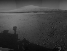 Curiosity rover's panorama with Mount Sharp in the background.