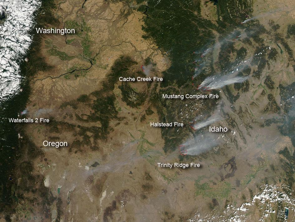 Fires in Idaho, Washington and Oregon