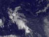 close up visible light image of a tropical storm over the Atlantic.