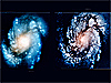 Picture of a galaxy before and after the telescope mirror was repaired