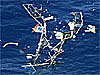 Debris from a lightweight aircraft in the ocean