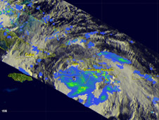 The TRMM satellite captured rainfall data on Aug. 25, 2012 at 1:12am EDT. The center was close to the southern coastline of Haiti.