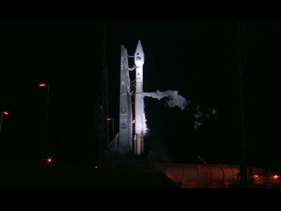 The Atlas V RBSP launch vehicle on the launch pad when the launch scrub was announced.