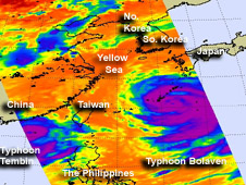 AIRS image of Tembin and Bolaven