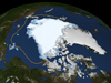 This visualization shows the extent of Arctic sea ice on Aug. 26, 2012, the day the sea ice dipped to its smallest extent ever recorded in more than three decades of satellite measurements, according to scientists from NASA and the National Snow and Ice Data Center.