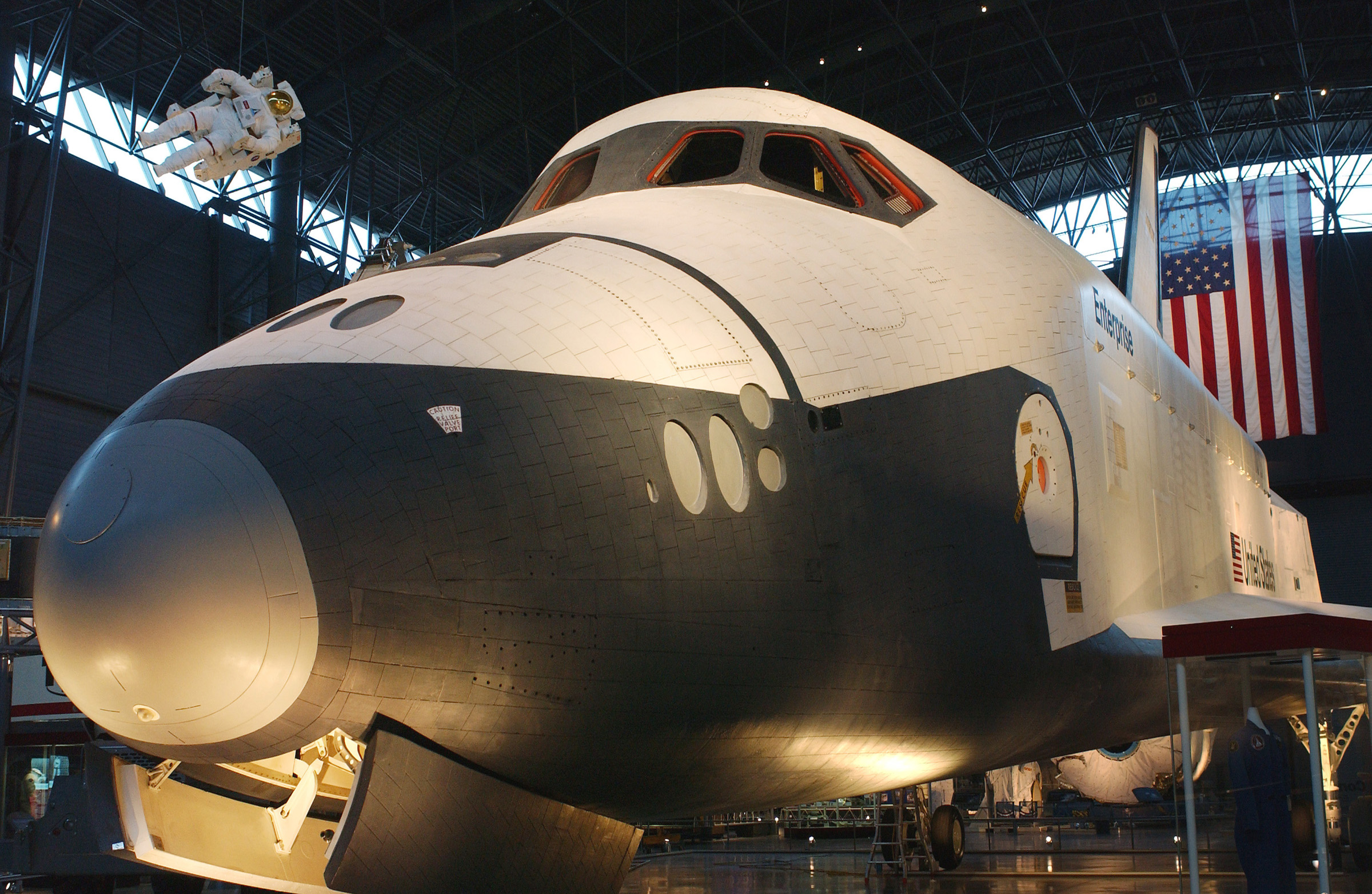 NASA - Shuttle Enterprise at Center of Museum's Space Hangar