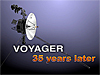 Computer-generated drawing of the Voyager spacecraft with the words Voyager 35 Years Later