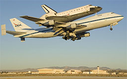 The Space shuttle Endeavour atop its modified Boeing 747 carrier aircraft lifts off from Edwards Air Force Base in California on the first leg of its ferry flight back to NASA's Kennedy Space Center