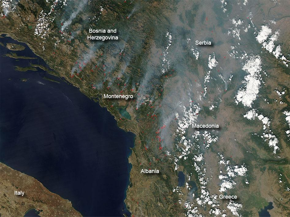 Fires in Southeastern Europe