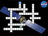 Dawn Crossword Puzzle with spacecraft in background