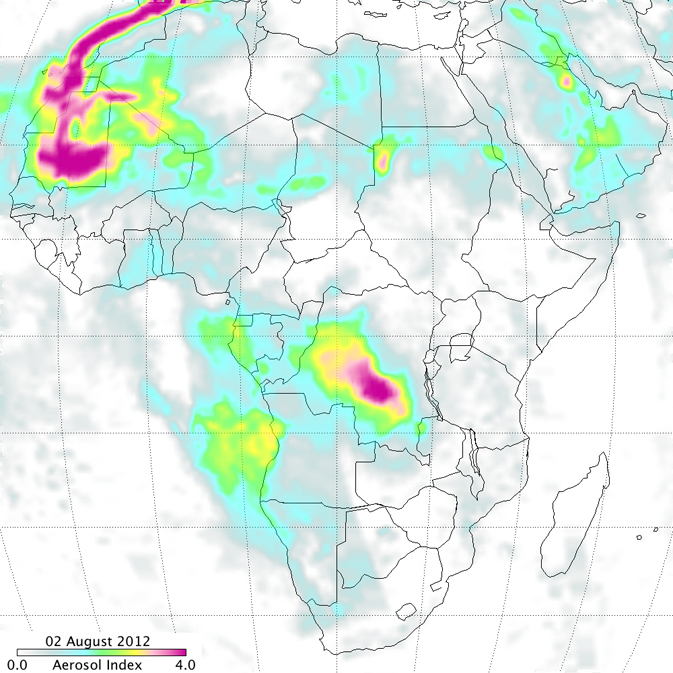 image of smoke over Africa derived from Ozone Mapping Profiler Suite data