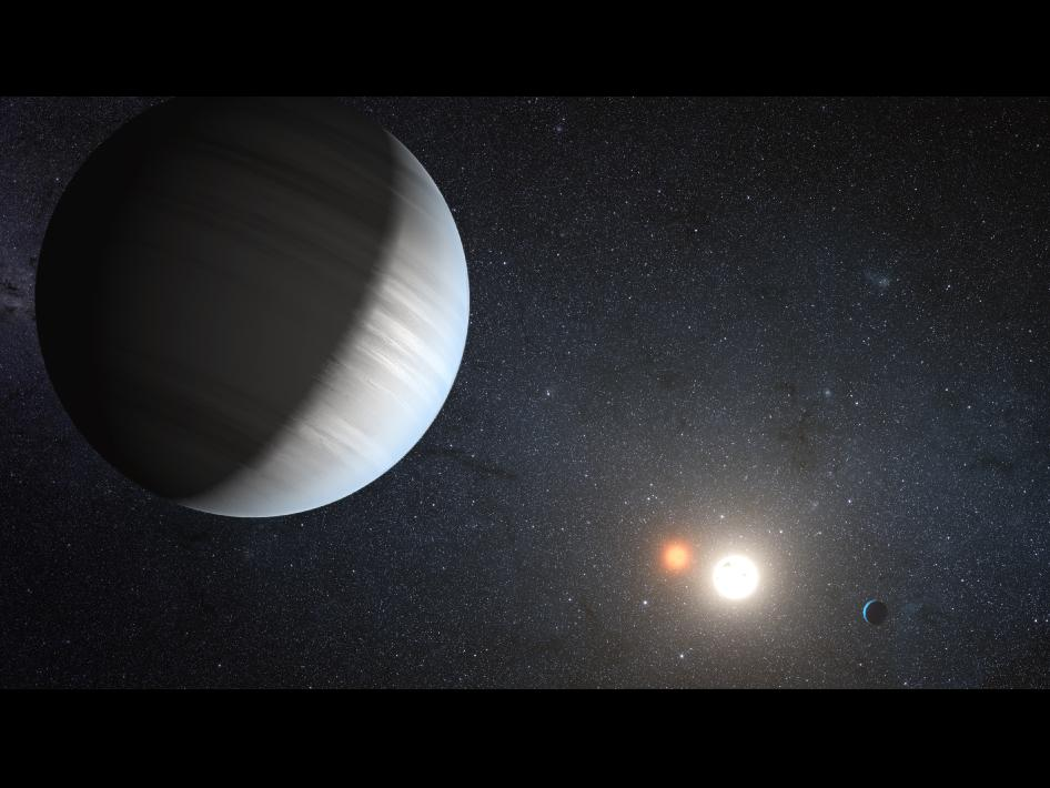 This artist's concept illustrates Kepler-47, the first transiting circumbinary system.