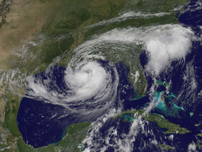 galactic swirl of Hurricane Isaac filling the Gulf of Mexico