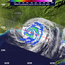 image of Isaac rainfall derived from satellite data