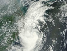 Tropical Storm Tembin on Aug. 29, 2012 at 02:25 UTC as it moved past Taiwan and into the Yellow Sea.