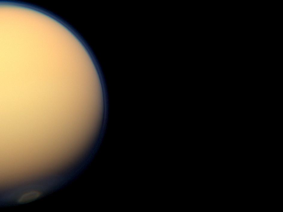 The recently formed south polar vortex stands out in the color-swaddled atmosphere of Saturn's largest moon, Titan