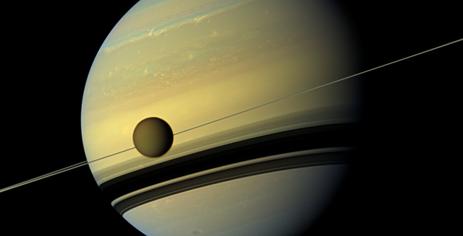 Natural color view of Titan and Saturn from NASA's Cassini spacecraft