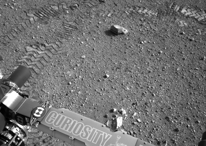 Close-up of track marks from the first test drive of NASA's Curiosity rover