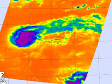 On Aug. 29 at 12:29 a.m. EDT the AIRS instrument on Aqua captured infrared data on Tropical Storm Kirk's clouds.