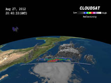 3D view of Tropical Storm Ileana off the Mexican coast, with South America wrapping around the curve of the earth