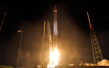 A United Launch Alliance Atlas V rocket blasts off from Space Launch Complex-41 at 4:05 a.m. EDT with NASA's twin Radiation Belt Storm Probes mission.