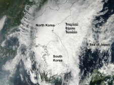 MODIS captured this visible, true-color image of Tembin at the time of landfall in southwestern South Korea.
