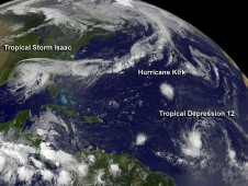 GOES visible image of Hurricane Kirk and Tropical Depression 12 in the central Atlantic Ocean on Aug. 30