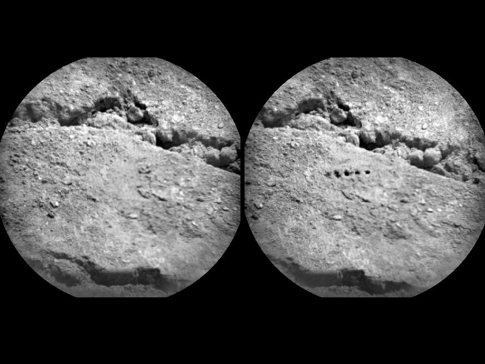 The Chemistry and Camera (ChemCam) instrument on NASA's Mars rover Curiosity used its laser to examine side-by-side points in a target patch of soil