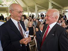 Apollo 11 Astronauts Michael Collins, left, and Buzz Aldrin talk at a private memorial service celebrating the life of Neil Armstrong, Aug. 31, 2012, at the Camargo Club in Cincinnati. Credit: NASA/Bill Ingalls
