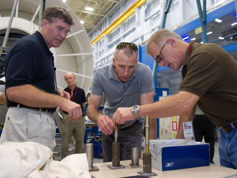 NASA astronauts Steve Bowen, Andrew Feustel and Mike Fossum