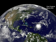 GOES satellite image of Isaac, Kirk, Leslie, and Tropical Depression 10E