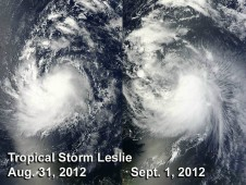 MODIS showed that Tropical Storm Leslie didn't change much in terms of form or strength from Aug. 31 to Sept. 1