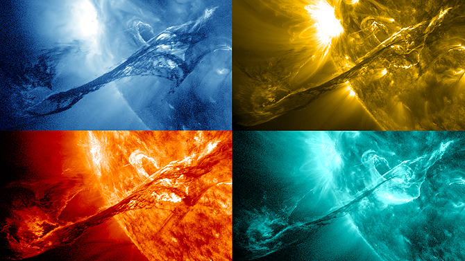 Four images of a filament on the sun from August 31, 2012 are shown here in various wavelengths of light as captured by NASA's Solar Dynamics Observatory (SDO).