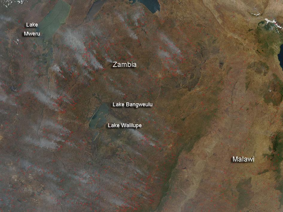 Fires in Zambia, Africa