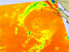AIRS infrared data on Sept. 4 at 5:23 p.m. EDT showed a circular swirl of clouds in post-tropical storm John