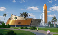 Artist concept of shuttle exhibit
