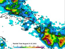 TRMM rainfall totals from Isaac for the period Aug. 21 to 27, 2012