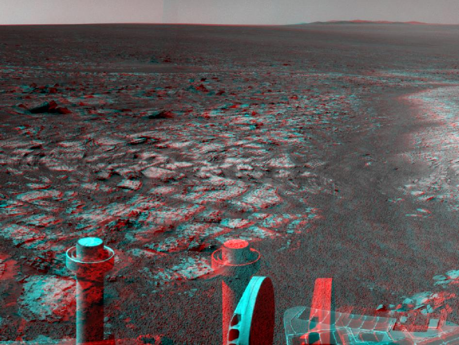 Opportunity's Surroundings on 3,000th Sol, in 3-D