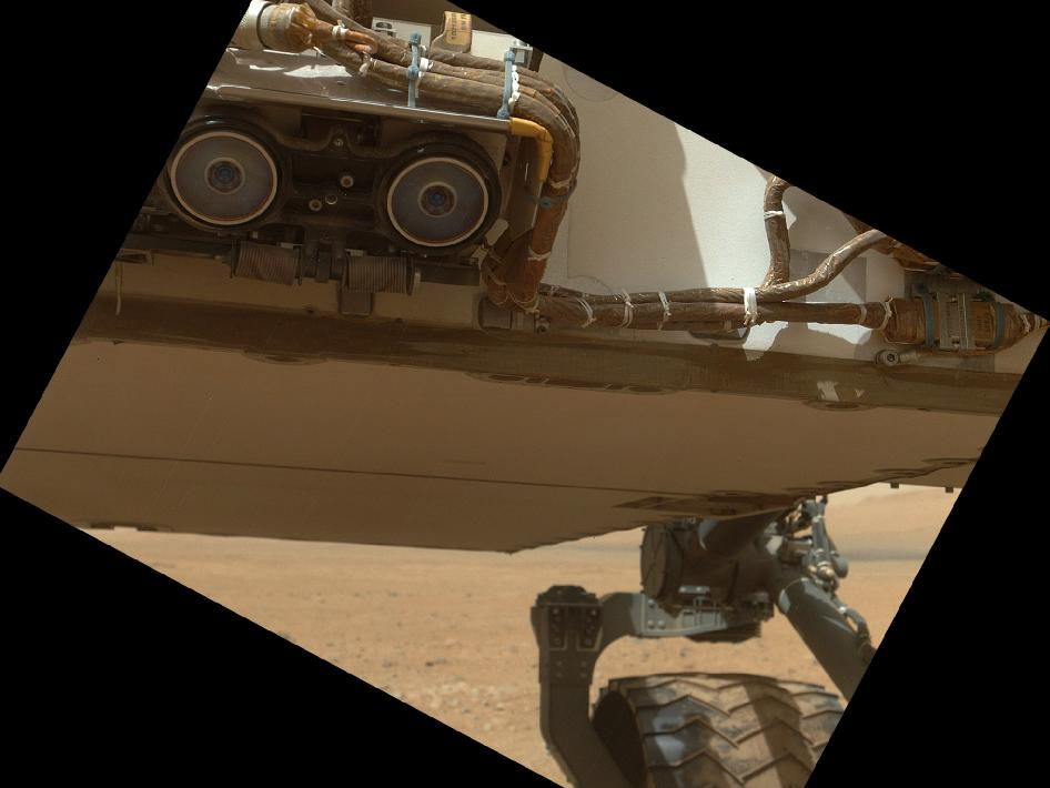 Lower front and underbelly areas of NASA's Mars rover Curiosity