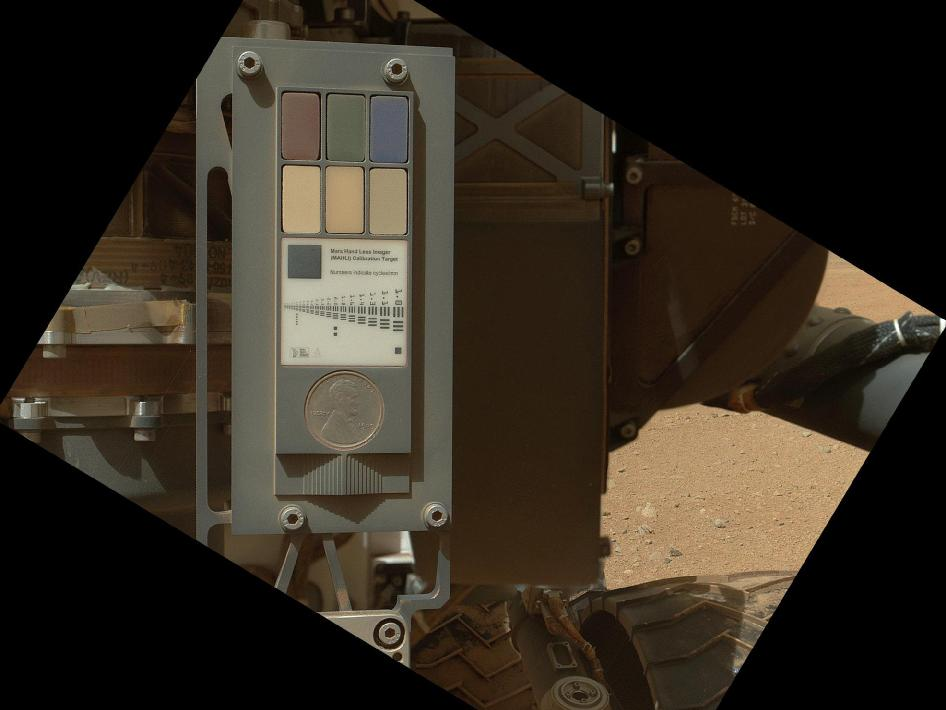 Calibration target for Curiosity's arm camera