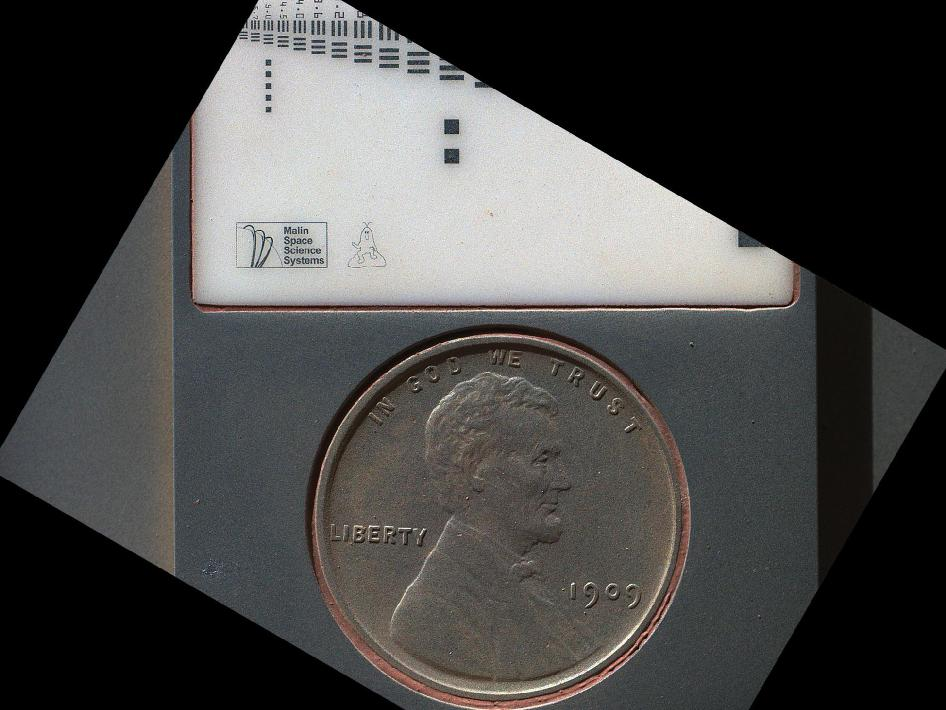 Lincoln penny on Mars in Camera's Calibration Target