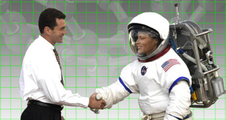 man and astronaut shaking hands