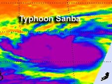 infrared image of Typhoon Samba, purple blob