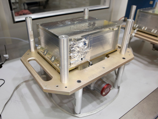 Photo of the RBSP's REPT instrument prior to installation on spacecraft B.